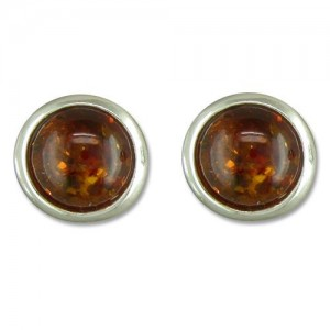 Sterling Silver Real Cognac Amber Small Round Stud Earrings