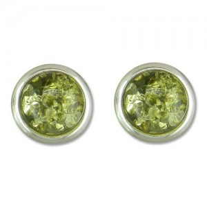 Sterling Silver Real Green Amber Small Round Stud Earrings