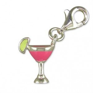 Sterling Silver Clip-On Pink Cocktail Glass Charm