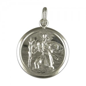 "Sterling Silver St Christopher Pendant & 20"" Chain"