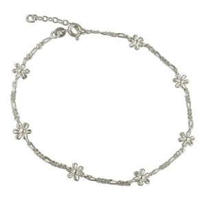 Sterling Silver Figaro & Flowers Anklet -R6955