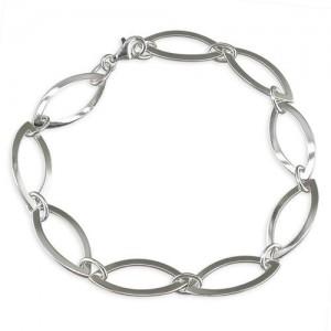 Sterling Silver Open Marquis Links Bracelet