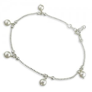 Sterling Silver Simulated Pearl Drop Beads Anklet