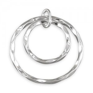 """Sterling Silver Concentric Beaten Rings Pendant &18"""" Chain"""
