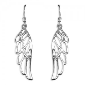 Sterling Silver Angel Wing Hook Drop Earrings