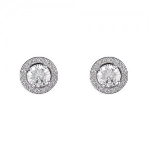 Sterling Silver Cubic Zirconia Halo Studs Earrings