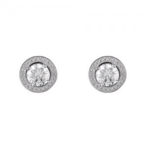 Sterling Silver Cubic Zirconia Halo Studs Earrings