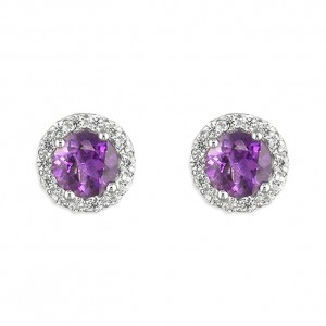 Sterling Silver Round Amethyst with Cubic Zirconia Halo Stud Earrings
