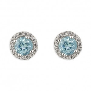 Sterling Silver Round Blue Topaz with Cubic Zirconia Halo Stud Earrings