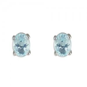Sterling Silver Oval Blue Topaz Stud Earrings