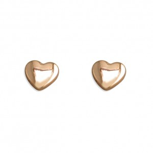 Sterling Silver Rose Gold Plated Heart Stud Earrings