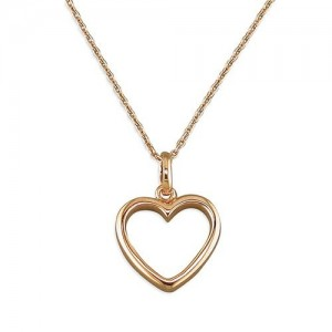 Sterling Silver Rose Plated Open Heart Necklace- R9215/R