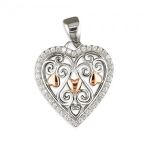 "Sterling Silver Filigree Cubic Zirconia Rimmed Heart with Rose Plated Highlights Pendant & 18"" Chain"