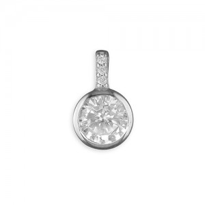 "Sterling Silver Rub-Over with Cubic Zirconia Stem Pendant & 18"" Chain"
