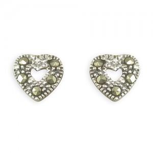 Sterling Silver Marcasite Open Heart Stud Earrings