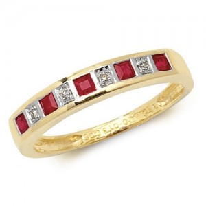 9ct Square Ruby & Diamond Row Ring