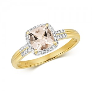 9ct Cushion Morganite & Diamond Ring