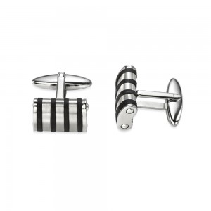 Fred Bennett Men's Stainless Steel & Rubber Cufflinks