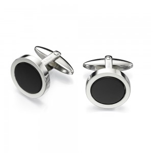 Fred Bennett Men's Stainless Steel Black Onyx Cufflinks