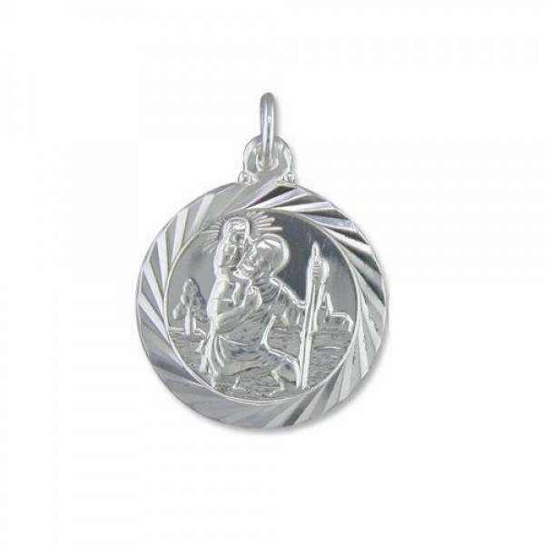 "Sterling Silver St Christopher Pendant & 18"" Chain"