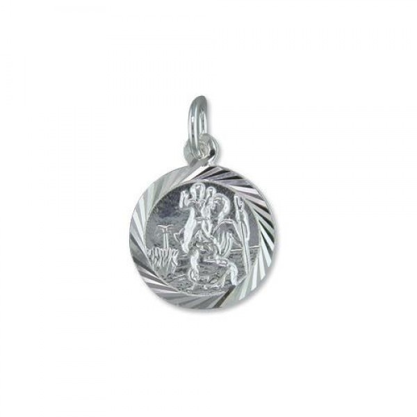"Small Sterling Silver St Christopher Pendant & 16"" Chain"