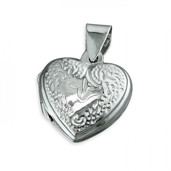"""Sterling Silver Engraved Heart Locket & 18"""" Chain"""