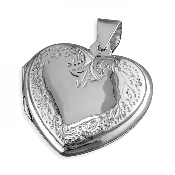 "Sterling Silver Engraved Heart Locket & 18"" Chain"