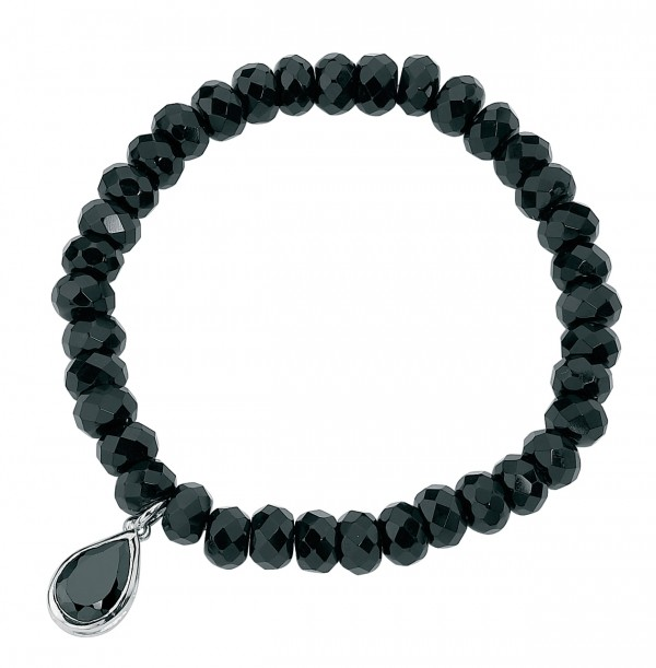 Sterling Silver Black Onyx & Black CZ Stretch Bracelet