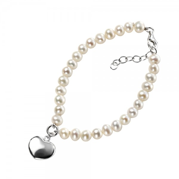 Sterling Silver Pearl Bracelet with Puff Heart Charm