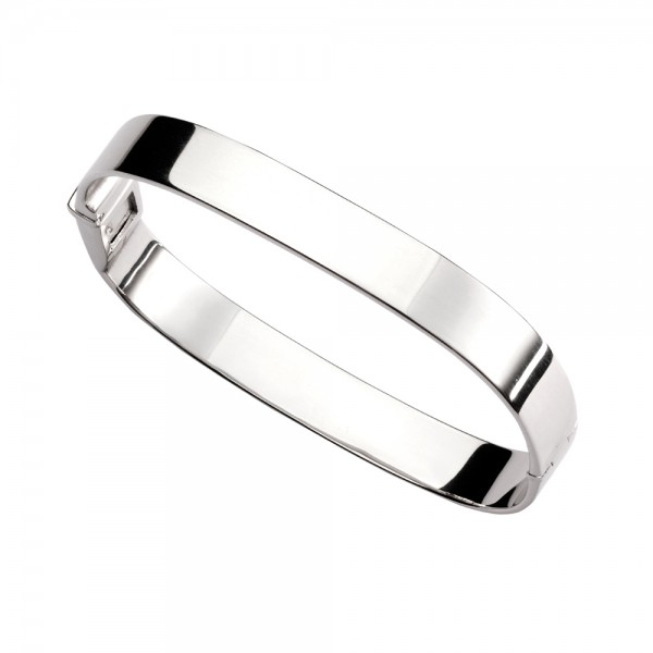 Sterling Silver Plain Wide Bangle