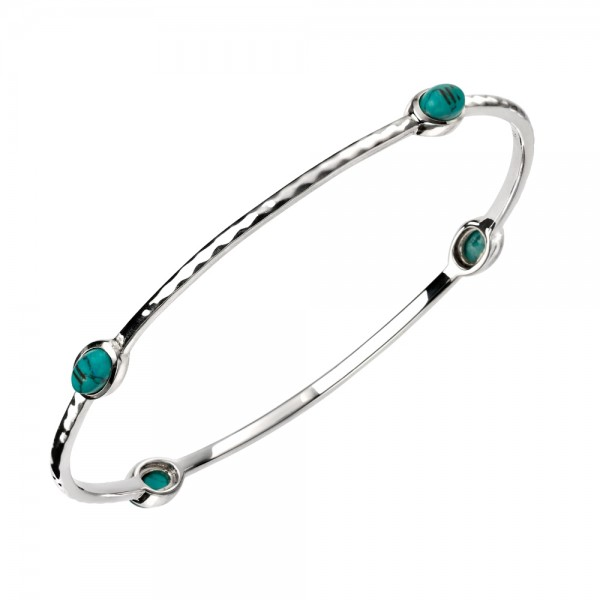 Sterling Silver Turquoise Bangle with Textured Pattern