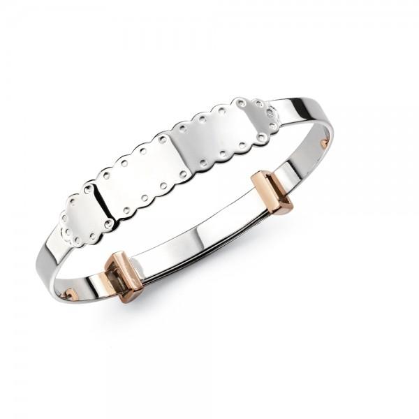 D for Diamond Silver Bangle
