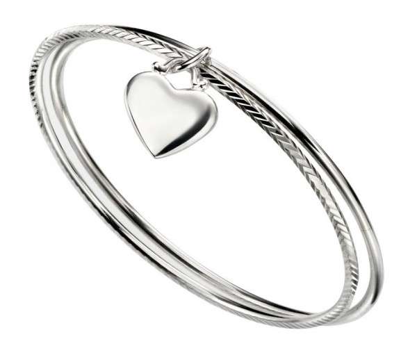 Sterling Silver Double Diamond Cut Bangle with Heart Charm