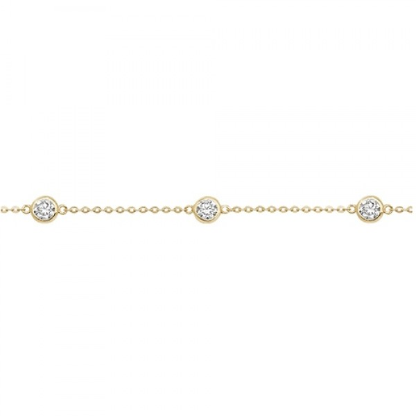 9ct Yellow Gold Cubic Zirconia Barcelet