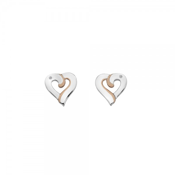 Hot Diamonds Together Heart Stud Earrings with Rose Gold Plated Accents