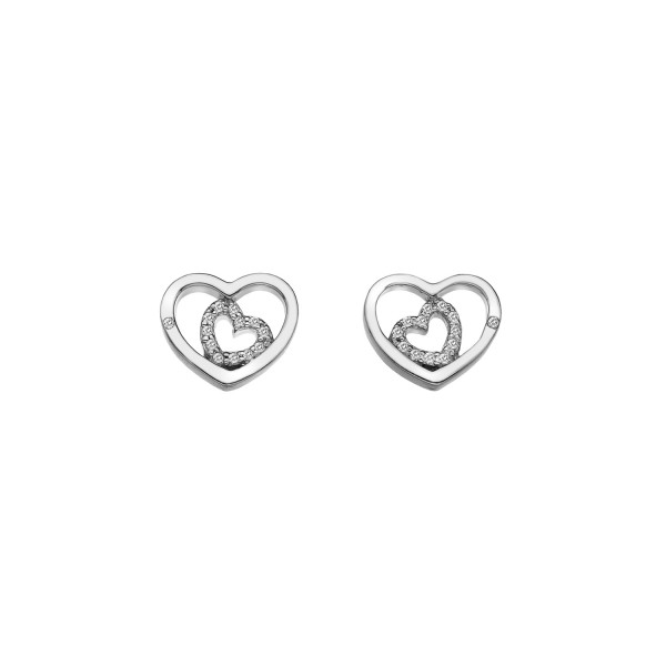 Hot Diamonds Sterling Silver Adorable Double Open Heart Studs