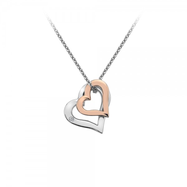 Hot Diamonds Glide Double Heart Pendant - Rose Gold Plated Accents