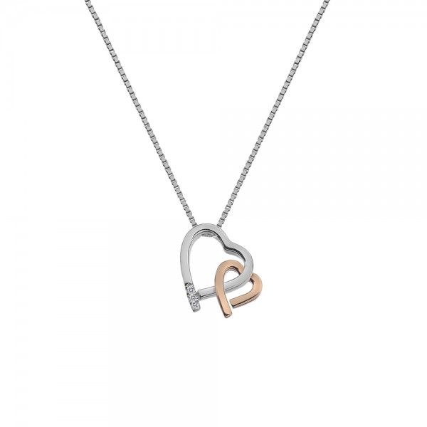 Hot Diamonds Amore Pendant with Rose Gold Plated Accents