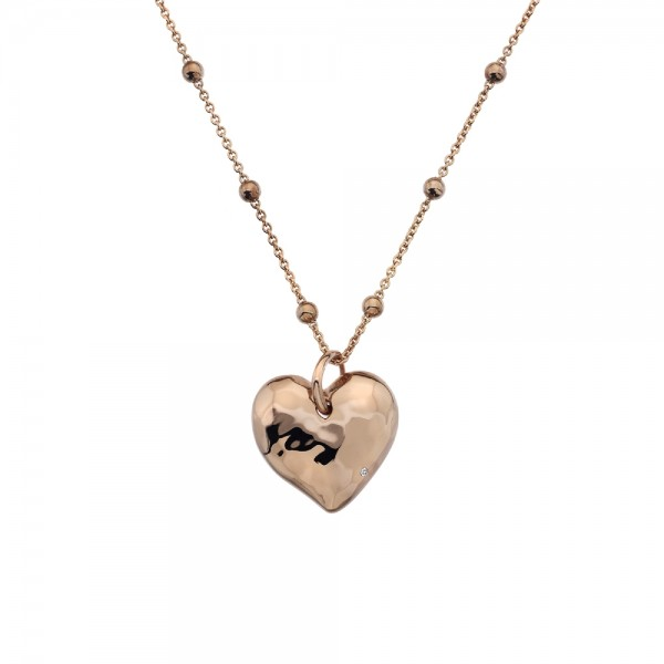 Hot Diamonds Sterling Silver Rose Gold Plated Touch Heart Pendant
