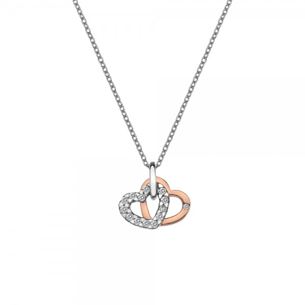 Hot Diamonds Sterling Silver & Rose Gold Plated Double Heart Pendant