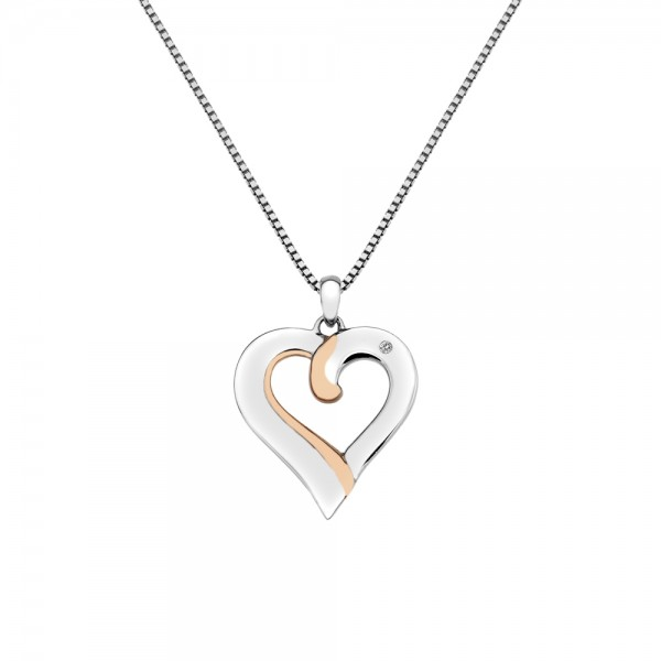 Hot Diamonds Sterling Silver Rose Gold Plated Accents 'Together' Heart Pendant