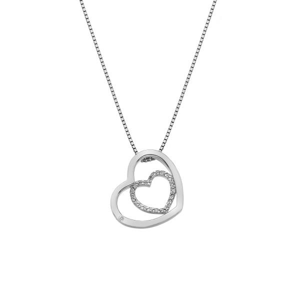 Hot Diamonds Sterling Silver 'Adorable' White Topaz Double Open Heart Pendant