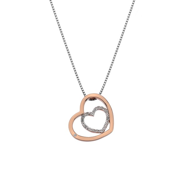 Hot Diamonds Sterling Silver Rose Plated Accents 'Adorable' White Topaz Double Open Heart Pendant