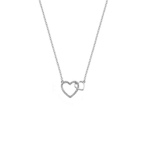 Hot Diamonds Togetherness Interlocking Hearts Necklace