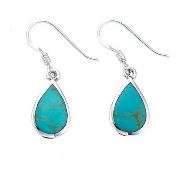 Sterling Silver Synthetic Turquoise Teardrop Drop Earrings