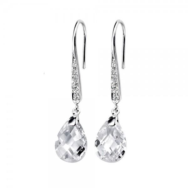Sterling Silver Cubic Zirconia Teardrop Hook Earrings