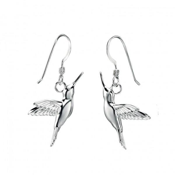 Sterling Silver Hummingbird Drop Earrings