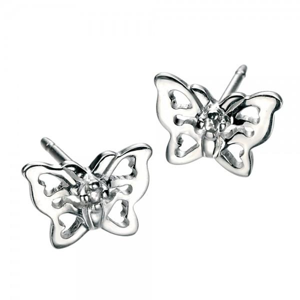 D for Diamond Silver Butterfly Stud Earrings