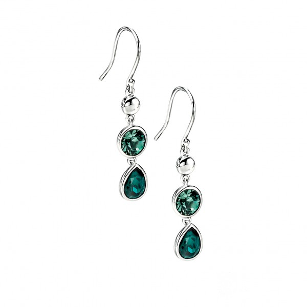 Sterling Silver Green Swarovski Crystal Drop Earrings