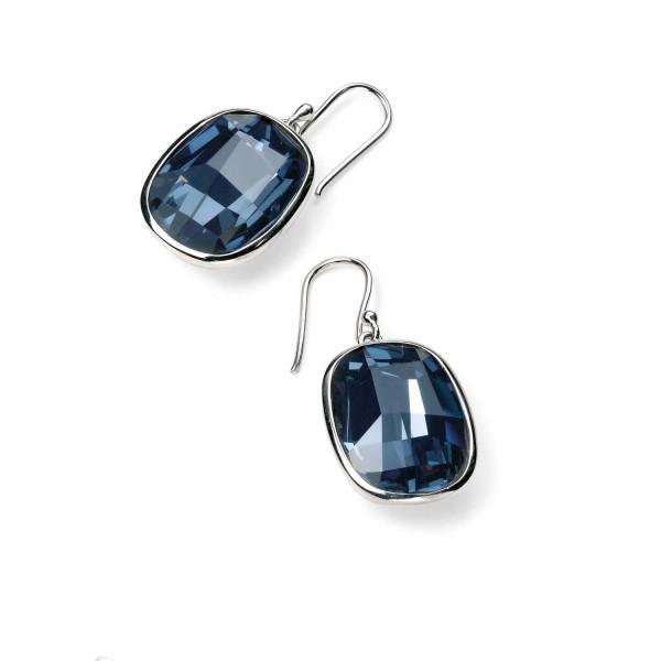 E4462L Sterling Silver Blue Swarovski Crystal Drop Earrings